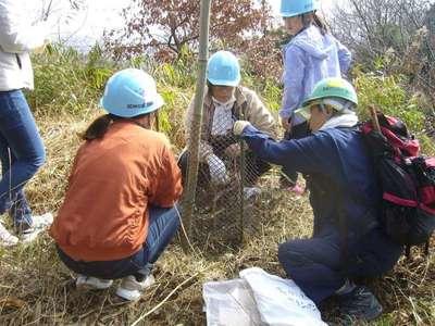 M代表世話役の指導で親子で植樹.JPG